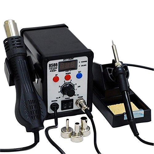 AttenDigitale Doppel Lötstation Lötkolben 50W Heißluft 700W SMD-Rework Station AT8586 - Solides & kompaktes Metallgehäuse