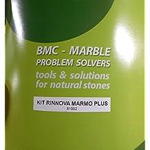 kit rinnova MARMO PLUS per eliminare opacità, graffi, corrosioni, incrostazioni di calcare e rifare la lucidatura su piani cucina, pavimenti in marmo, travertino