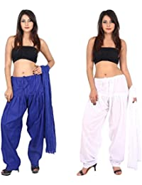 TEEJ New Ladies Punjabi Cotton Patiala Salwar With Dupatta Combo Of 02 Set