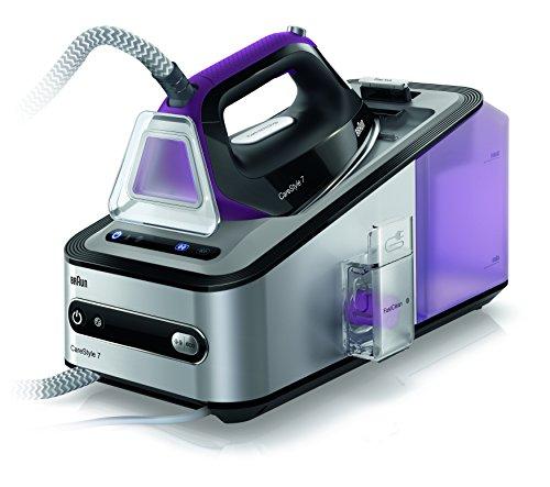 DeLonghi Carestyle 7 2L Suela de Eloxal Negro, Púrpura, Plata - Centro de planchado (7 bar, 2 L, 450 g/min, 125 g/min, Suela de Eloxal, Negro, Púrpura, Plata)