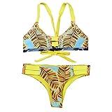 Rawdah Le donne sexy spingono verso l'alto il vestito di bagno di spiaggia della tuta sportiva del bikini imbottito imbottito (L, Giallo)