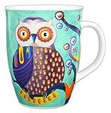 Kaffeebecher Eule aus Prozellan Cappuccinotasse Kaffeebecher Trinkbecher Teetasse Tee Tasse Mug Becher Grün Türkis - 340ml