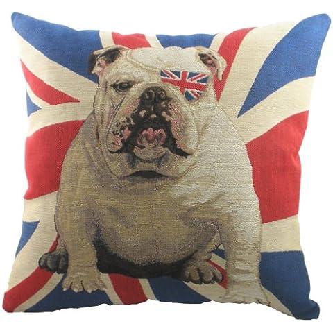 Evans Lichfield Union Jack Winston - Cojín de tela de tapiz (con relleno, 45,7x45,7cm), diseño de perro y bandera