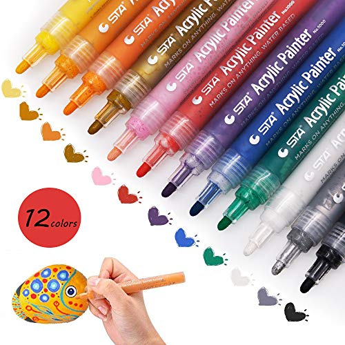MMTX Acrylstifte Marker Stifte für Holz Wasserfest, 12 Farben Permaft Folienstift Farbnent Marker Set Art für Steine,Bemalen,Glasmalerei,Leinwand,Keramik,Scrapbook Papier,Garten, DIY Fotoalbum -