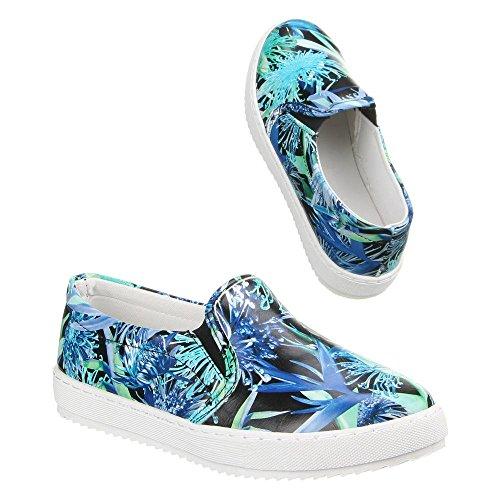 Damen Schuhe, LB930-1, HALBSCHUHE SLIPPER Blau Multi W-37-