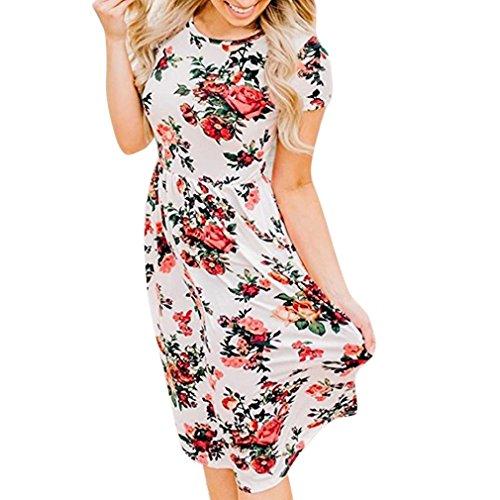 MRULIC Damen Blumen Boho Kleid Lady Beach Sommer Sundrss Maxikleid(Weiß,EU-42/CN-XL) (Womens T-shirt Sleeve Wahl Cap)