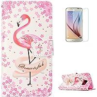 KaseHom Galaxy S7 Edge + [Protector de Pantalla] Dibujos Animados Estuche Billetera de Cuero Folio con Ranuras para Tarjetas y Cubierta Flip magnética Slim Anti-Arañazos Case - Flamencos