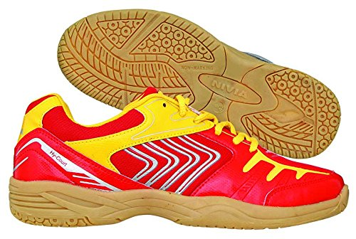 Nivia Hy-Court Badminton Shoes, UK 5 (Red)