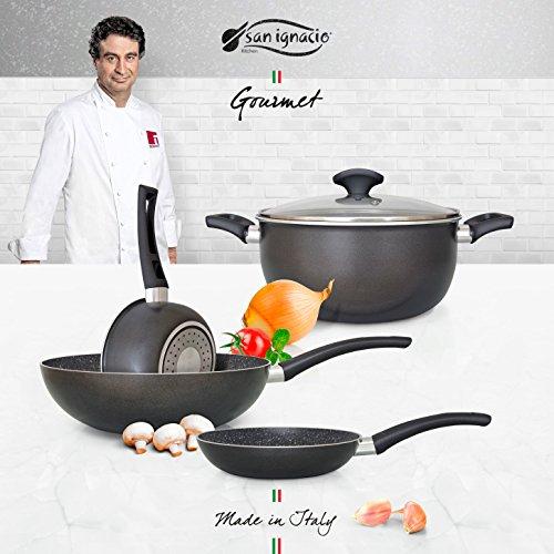 San Ignacio Set Usual Batería De Cocina Gourmet, Aluminio Prensado, Gris Oscuro, Cazo De Ø16 Ø20...