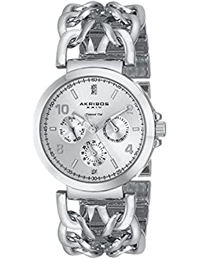 Akribos XXIV Damen-Armbanduhr Lady Diamond silberfarbenes mit Link Armband