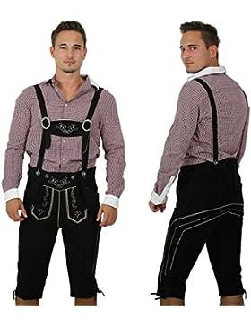 Kniebund Herren Lederhosen/ Trachtenhose in schwarz inklusive verstellbarer Hosenträger