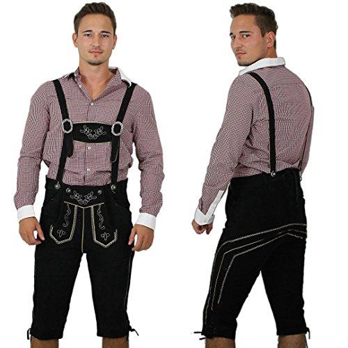 Kniebund Herren Lederhosen/ Trachtenhose in schwarz inklusive verstellbarer Hosenträger Größe 54