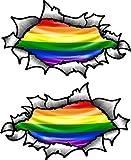 klein Hand Paar OVAL gerippt offen Zerrissen Metall effekt design mit LGBT gay-pride Regenbogen Flagge Vinyl Motorrad Helm Aufkleber 85x50mm each