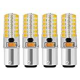Sunix 4stk 5W BA15D LED Leuchtmittel, 48 2835 SMD LED, 200-230LM, Nicht dimmbar, Warmweiß, 3000K, 360 Grad Strahlwinkel, Silikon Mais Birne LD887