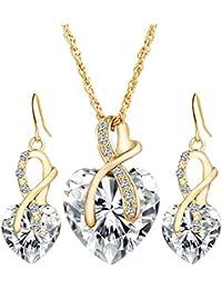 Femme Belles Élégant Alliage Zircon Cristal Forme De Cœur Boucles D'Oreilles Collier Ensemble De Parures