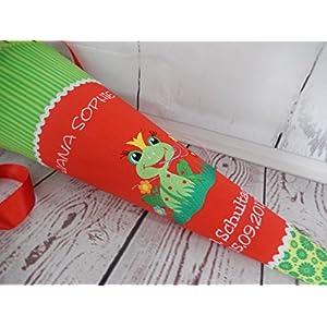 Frosch grün-rot Schultüte Stoff + Papprohling + als Kissen verwendbar