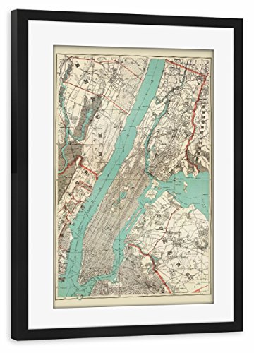 artboxONE Poster mit Rahmen Schwarz 30x20 cm Vintage Map of New York City and Manhattan von David Springmeyer