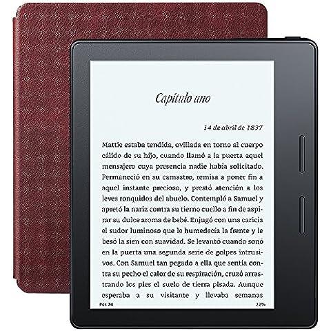 E-reader Kindle Oasis con funda de carga de cuero burdeos, pantalla de 6