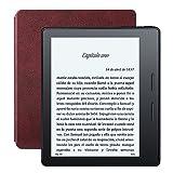 """E-reader Kindle Oasis con funda de carga de cuero burdeos, pantalla de 6"""" (15,2 cm) de alta resolución (300 ppp) con luz integrada, wifi"""