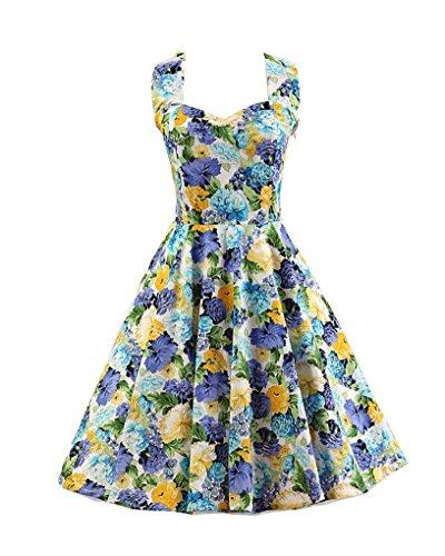 MISSMAO Vintage année 50's Rockabilly Floral Style Halter Rétro 1950's Audrey Hepburn Robe de Soirée cocktail Bleu & Violet Floral