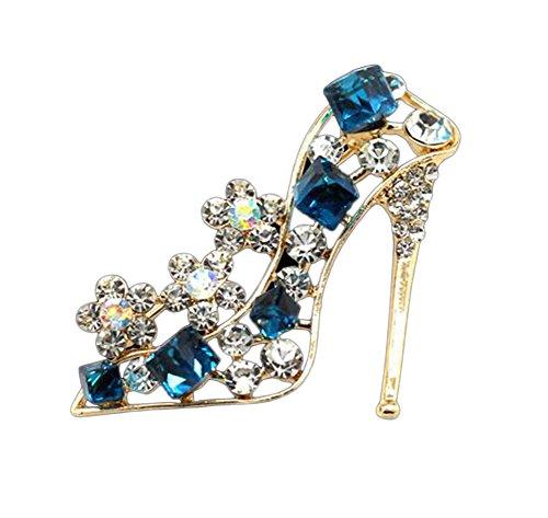 Kanggest Broche para Mujer Creativa Moda Rhinestone Tacón Alto Broche Pin Elegante Broches para Ropa Bufanda Vestidos(Azul)
