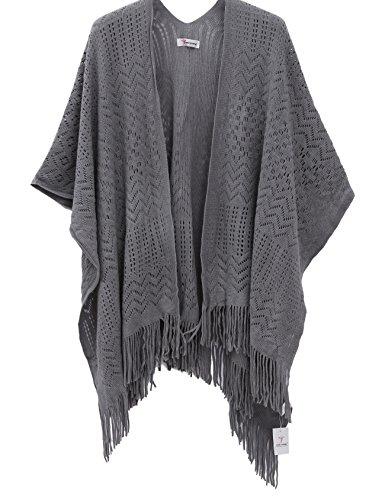stricken stola für Damen,mädchen Schal Frauen Kimono Cardigan(Grau) (Kind Schwarz Cape)