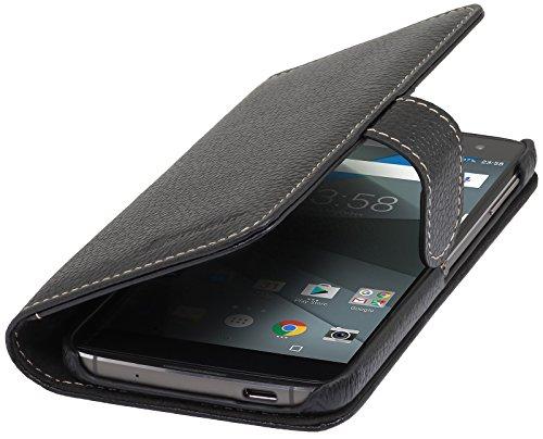 StilGut Talis Schutz-Hülle für BlackBerry DTEK60 mit Kreditkarten-Fächern aus echtem Leder. Seitlich aufklappbares Flip Case in Handarbeit gefertigt für das Original BlackBerry DTEK60, Schwarz
