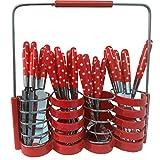 Besteckset Bistro Besteck Set 25-teilig Grillbesteck von JEMIDI Tafelbesteck Besteck Set Löffel, Galbel, Messer, Teelöffel Rot