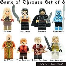 Kids Corner Productions ® - Juego de Tronos 8 set Figuras de acción para coleccionistas - Jon Snow, Khal Drogo, White Walker, Daenerys y otros (8 piezas) La Ultima Temporada GOT compatible con Lego ...
