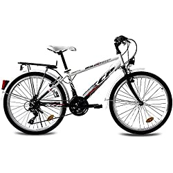 "24"" KCP CITY COMFORT CRUISER YOUTH BIKE Boys WILD CAT 18S SHIMANO black white - (24 inch)"