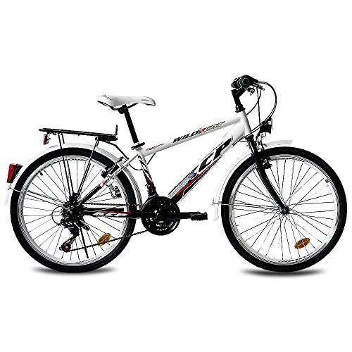 24 KCP CITY COMFORT CRUISER YOUTH BIKE BOYS WILD CAT 18S SHIMANO BLACK WHITE   (24 INCH)