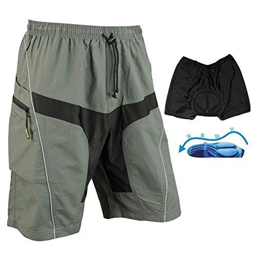 SaySure - SANTIC Cycling Shorts Casual Shorts with Pad Detachable Liner trousers Mens Board Shorts Basketball Running Surf Gray (SIZE : XL) - GMN-BG-SPT-000332