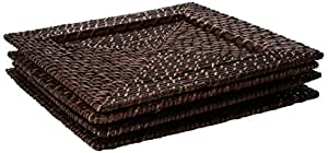 Chargeit by Jay Square 13-Inch Rattan Plates, Set of 4 by ChargeIt by Jay