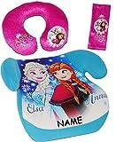 Unbekannt 3 TLG. Set _ Kindersitzerhöhung / Sitzerhöhung + Nackenkissen + Gurtpolster -  Disney Frozen - die Eiskönigin  - incl. Name - 15 - 36 kg / 3 bis 12 Jahre - ..
