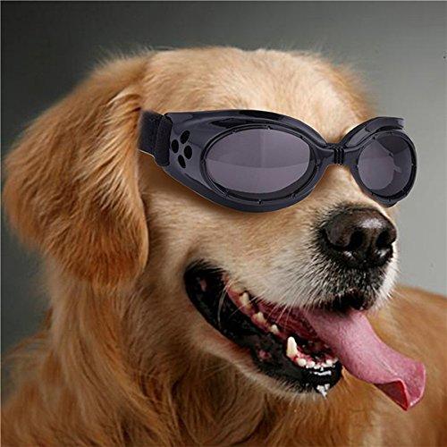 UEETEK Hund UV Sonnenbrille Brille Sonne schützenden Sonnenbrille mit verstellbarem Schultergurt für Welpen Hund (schwarz)