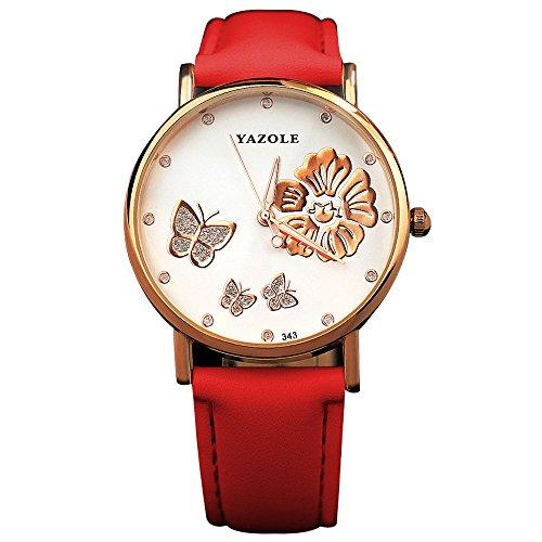 YaZhuoLun Damen-Armbanduhr,Leuchtende Nacht Wasserdicht Quarzwerk Uhren Leder Uhr(Rote)