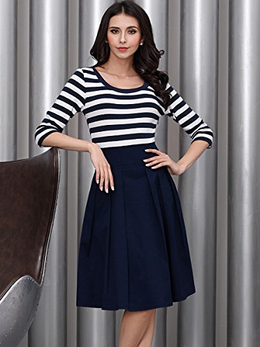 Miusol Damen Vintage 1950er Streifen Rund Ausschnitt 3/4 Arm Retro Schwingen Pinup Rockabilly Kleid Navy Blau Gr.M - 5