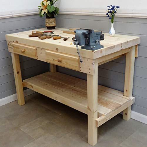 Werkbank aus Holz, 1,4 m - 2,1 m, 69 mm dicke Oberseite und 2 Schubladen, Size=1.4m x 0.87m £743, Vice=No vice, 1