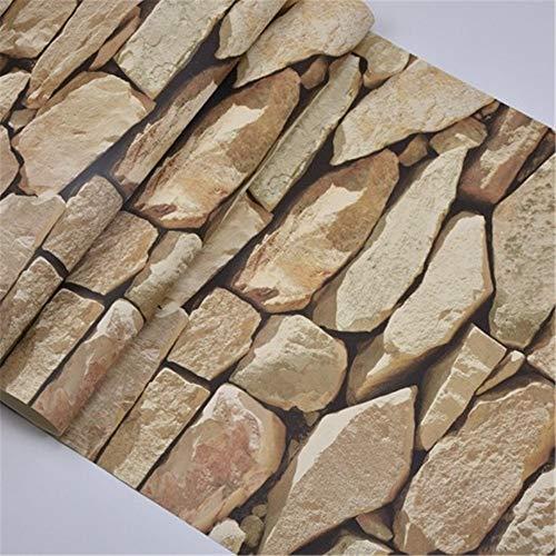 Rustikale Sand (YYZC wasserdichte Vintage 3D Stein Effekt Tapetenrolle Moderne Rustikale Realistische Faux Stein Textur Vinyl PVC Tapeten Wohnkultur (Color : Sand Brown, Dimensions : 10mx53cm))