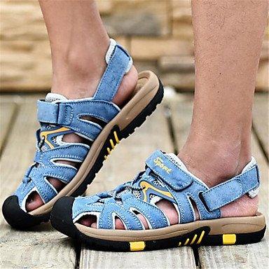 Sandálias De Couro Dos Homens De Verão Ocasional Calcanhar Plana Cinza Azul Cáqui Azul Liso