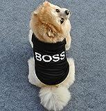 LA VIE Haustier Schwarzes T-Shirt BOSS Hundekostüm Weiches und Bequemes Hund Pullover für Kleine und Mittlere Hunde Katze Welpen L
