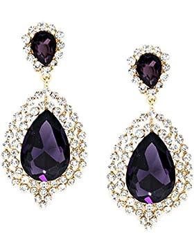 Schmuckanthony Luxus Abend Ball Hochzeit Schmuck Lange Ohrclips Clips Clip On Ohrringe Kristall Klar Transparent...