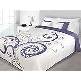 220x240 creme violett lila Tagesdecke Bettüberwurf Anna
