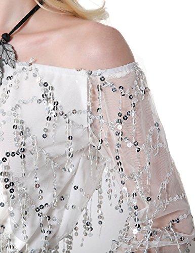 SunIfSnow - Chemise de nuit spécial grossesse - Tunique - Uni - Manches Longues - Femme Blanc
