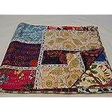 Tribal Asian Textiles 1111 - Colcha para cama de matrimonio con diseño kantha de Cachemira multicolor (230x275cm)
