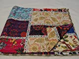 Patchwork-Decke/Überwurf 1111, handgefertigt, mehrfarbig/Paisley-Muster, 229x274cm, Queensize