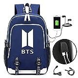 Meridiaga KPOP Bangtan Jungen BTS Casual Rucksack Daypack Laptop Tasche Collegetasche Schultasche Büchertasche mit USB-Ladeanschluss