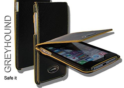 Exklusive Echt Leder Handytasche Cover Hülle Schwarz/Gelb für das Apple iPhone 6 / 6S mit Klappe/Magnetverschluss, incl. Sicherheitslasche.