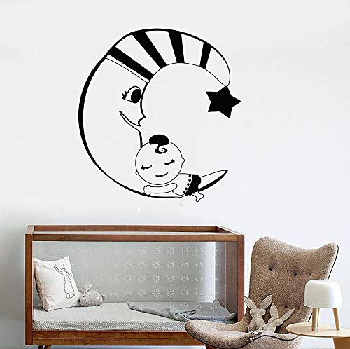 Crescent Moon Star Wandtattoos Babyzimmer Traum Schlafzimmer Kinderzimmer Aufkleber Hauptwanddekor Niedliche Kunst Selbstklebender Aufkleber Z 56x59cm