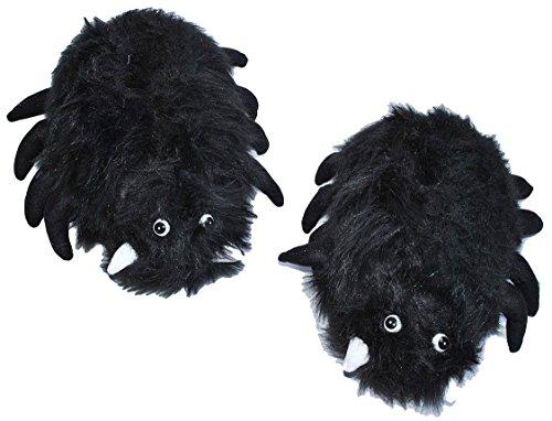 Hausschuh / Pantoffel - schwarze Spinne - Größen Gr. 40 - 41 Plüschhausschuh - für Kinder + Erwachsene - Plüsch Hausschuhe Tierhausschuhe / Damen Herren Kind - Spinnen (Spider Kostüm Kind Frau)